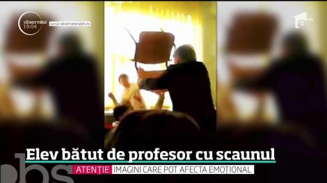 Atac brutal într-o şcoală din România! Un profesor şi-a lovit elevul cu scaunul în cap