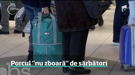 Alertă pe aeroporturi şi în vămi. Românii care le duc rudelor din străinătate produse tradiţionale din carnea de porc sunt verificaţi în bagaje