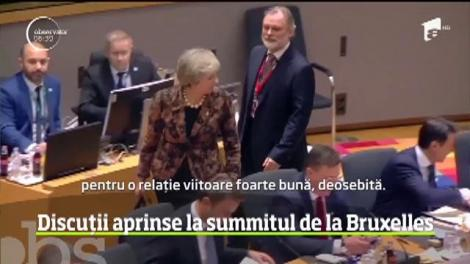 Discuții aprinse la summitul de la Bruxelles între premierul britanic, Theresa May, și preşedintele Comisiei Europene, Jean-Claude Juncker
