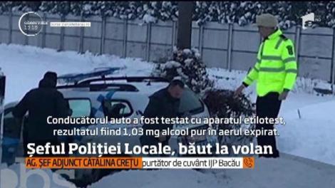 Şeful Poliţiei Locale din Bacău e la un pas să rămână fără loc de muncă, după ce s-a urcat băut la volan şi a ajuns cu maşina de serviciu într-un şanţ!