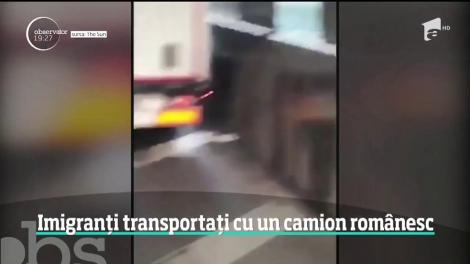 Imaginile care au stârnit indignare pe internet! Imigranți transportați cu un camion românesc, filmat pe o autostradă din Marea Britanie