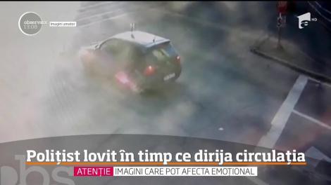 Un poliţist din Oradea care dirija circulaţia a fost lovit în plin de o maşina