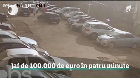 Jaful anului a fost filmat într-o parcare din Suceava! Trei hoţi au furat o sută de mii de euro din autoturismul unui patron de casă de schimb valutar