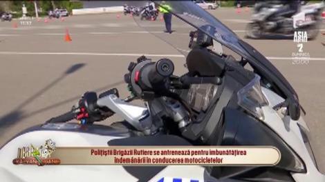 Polițiștii Brigăzii Rutiere, antrenament pe două roți: O motocicletă are 300 de kilograme