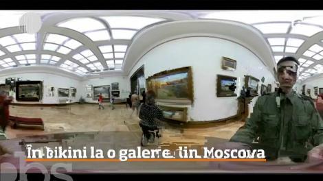 Bărbat în bikini, filmat într-un muzeu din Moscova. Imaginile au devenit virale!