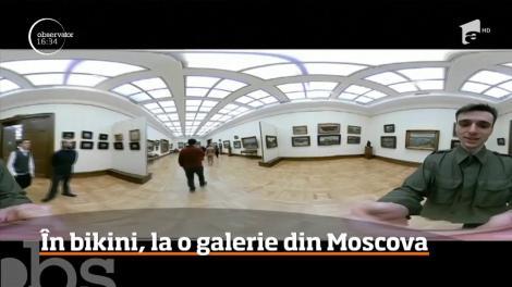 În bikini, la o galerie din Moscova. Imaginile au devenit virale