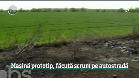 O maşină de peste o sută de mii de euro s-a făcut scrum dintr-o greşeală de amator. Bolidul era transportat pe o platformă, când a luat foc pe autostradă