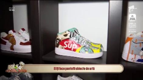 Octavian Graure are arta la picioare! A creat prima pereche de pantofi sport cu talpă din nisip. Răzvan Simion: Dani, am vrut să-mi fac niște adidași pictați cu fața ta