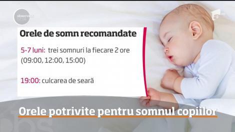 Care sunt orele potrivite pentru somnul copiilor. Trucuri de adormit