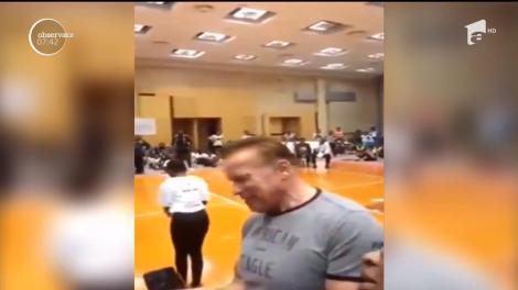 Arnold Schwarzenegger, atacat cu o lovitură de kung-fu