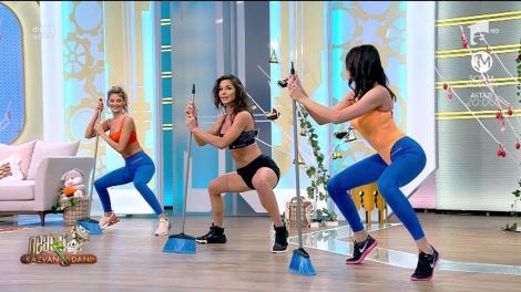 Fitness la Neatza cu Răzvan și Dani! Cum facem un antrenament full-body cu mătura