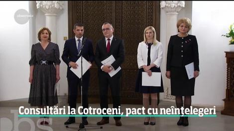 Consultări la Cotroceni, pact cu neînțelegeri