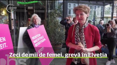 Grevă mai puţin obişnuită. Zeci de mii de femei au protestat în Elveția
