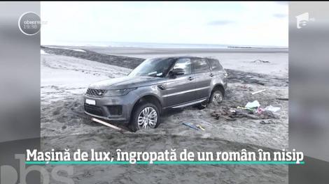 Tupeu românesc în Belgia. A intrat cu un bolid de lux pe plajă și s-a afundat în nisip: Poliția a adus buldozerul