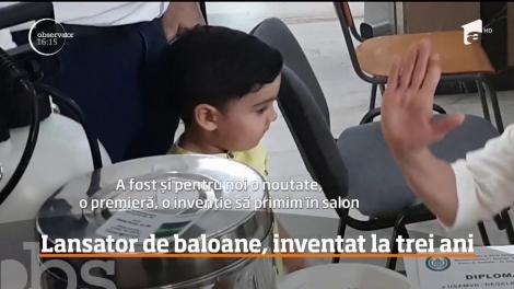 Un copil de trei ani din Oradea are propria invenţie: un lansator de baloane cu spumă