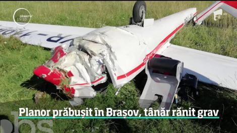 Planor prăbuşit pe Aerodromul Sânpetru, din judeţul Braşov. O persoană rănită grav