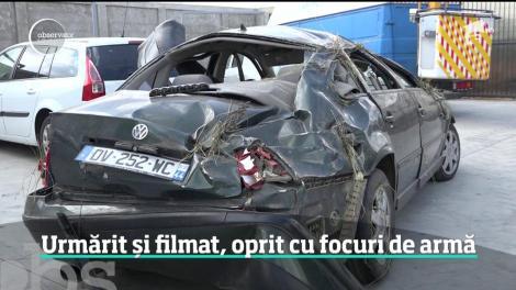 Polițiștii din Mehedinți au oprit o mașină care circula cu 140 de kilometri pe oră cu ajutorul focurilor de armă