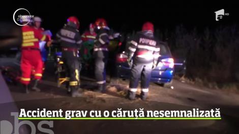 Accident tragic în judeţul Braşov! Un autoturism a lovit o căruţă nesemnalizată
