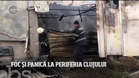 O hală de la marginea oraşului Cluj-Napoca a fost cuprinsă de un incendiu puternic