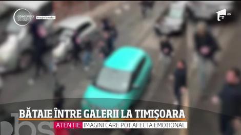 Bataie între galerii. Ultraşii echipelor Dinamo şi Poli Timişoara s-au luat la bătaie în plină stradă
