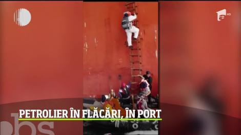 Incendiu puternic într-un port din Coreea de Sud, după o explozie produsă la bordul unui petrolier de 25.000 de tone