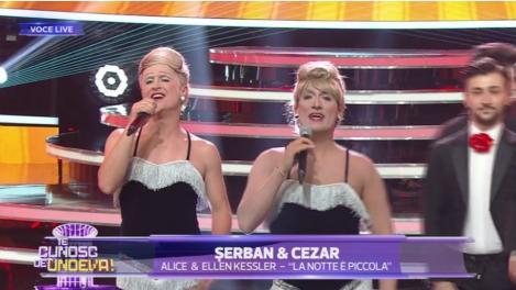 Te cunosc de undeva! Șerban Copoț și Cezar Ouatu se transformă în Alice & Ellen Kessler - La notte è piccola