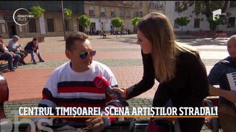 Centrul orașului Timișoara, scena artiștilor stradali