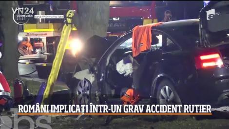 Accident dramatic în Germania. Un român a pierdut controlul volanului după o manevră periculoasă de depăşire și s-a izbit frontal de un copac. Soția și unul dintre copii au decedat