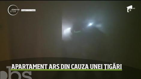 Un apartament dintr-un bloc din Galaţi s-a făcut scrum de la o ţigară uitată aprinsă