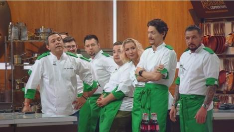 Chefi la cuţite. Temele ediției - ciorbă și antreu. Chef Bontea și chef Scărlătescu, la cuțite: A început să scoată flăcări pe nas ca un dragonel!