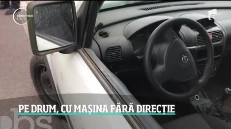 Șofer prins de politie cu probleme grave la direcţie! Volanul maşini se mişca în gol! Cum a fost posibil