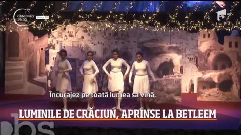Imagini unice de la Betleem! S-au aprins luminile de Crăciun în locul în care Iisus a venit pe lume