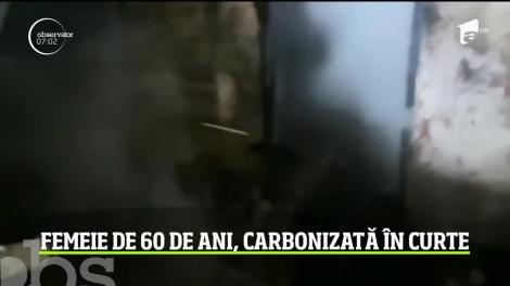 O femeie de 60 de ani din Argeş, găsită carbonizată în curtea unei case mistuită de flăcări