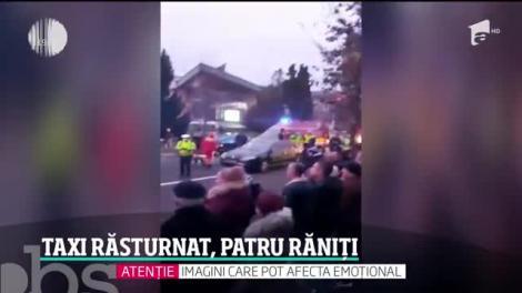 Un taxi s-a răsturnat în centrul oraşului Baia Mare. Cei trei călători şi şoferul au ajuns la spital