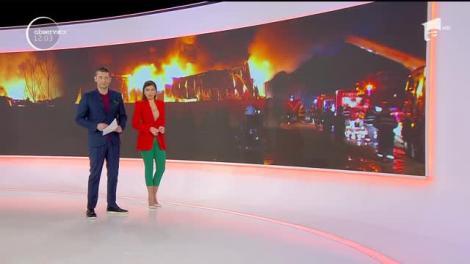 Incendiu violent la un depozit din localitatea Afumaţi. Au intervenit 25 de autospeciale şi 150 de pompieri
