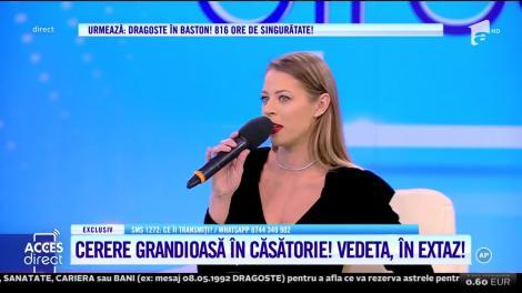 Primele declarații despre nuntă. Roxana Nemeș a fost cerută de soţie, în centrul Capitalei, în faţa a mii de români. Video