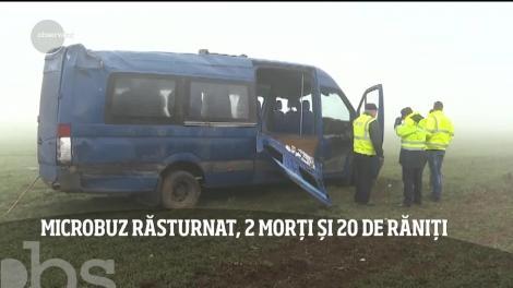 Microbuz răsturnat în judeţul Constanţa, doi morți și 20 de răniți