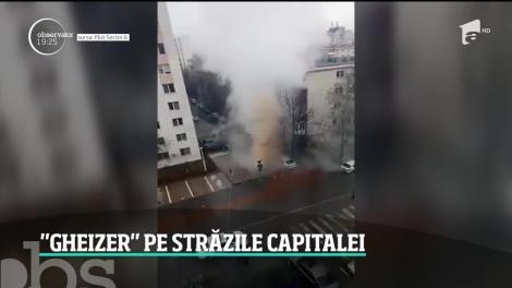 """""""Gheizerul"""" din cartierul bucureştean Militari!  O coloană de apă fierbinte şi aburi a ţâşnit până la 10 metri înălţime"""
