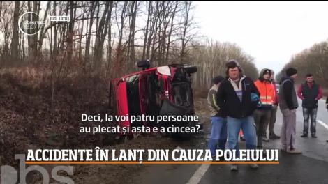 Accidente în lanț din cauza poleiului