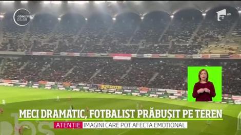 Scene șocante pe Arena Naţională! Fotbalistul Slavko Perovici a fost lovit în față de un adversar și a căzut secerat la pământ