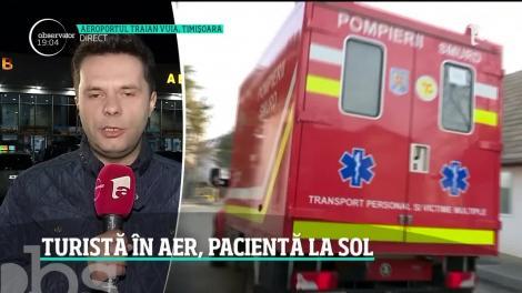 Femeie suspectă de coronavirus, luată cu ambulanța de pe aeroportul din Timișoara