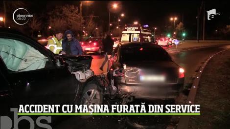 Accident cu mașina furată din service