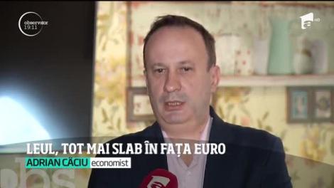 Leul, tot mai slab în fața Euro. Moneda națională ar putea ajunge la cinci lei până la finalul lui 2020