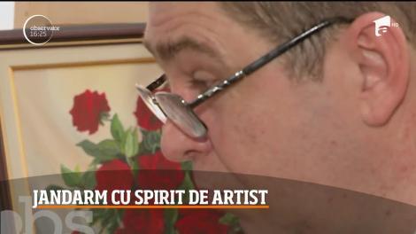 Un jandarm în rezervă din Dej a dat milităria pe artă, mai precis pe pictură. Câte tablouri a reuşit să picteze în doar câteva luni