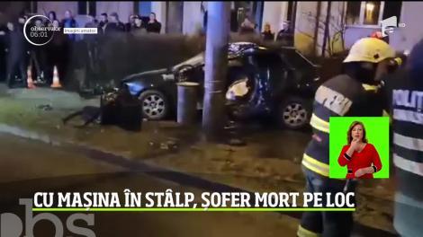 Accident cumplit în Baia Mare. Un bărbat de 27 de ani a intrat cu mașina într-un stâlp și a  murit pe loc