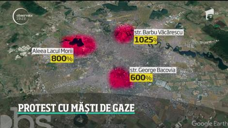 Protest cu măşti de gaze la Ministerul Mediului, după cel mai grav episod de poluare din Capitală