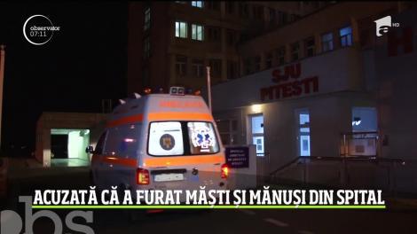 Caz revoltător în Argeș, în plină criză de COVID-19. O gestionară a furat măști, mănuși și soluții dezinfectante din spital