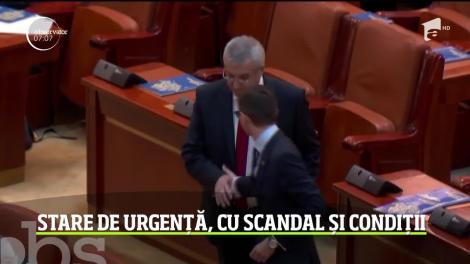 Stare de urgență, cu scandal și condiții în Parlament