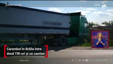 Carambol în Brăila între două TIR-uri și un camion