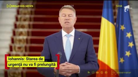 Președintele Iohannis anunță noi măsuri: Starea de urgență nu va fi prelungită